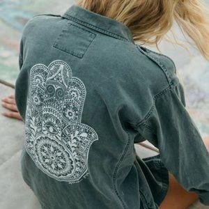 Spiritual Gangster XS Hamsa Henna Army Jacket